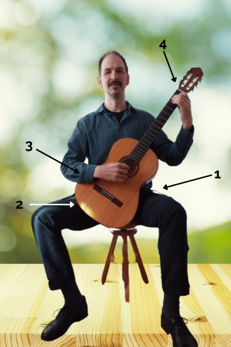 Gitarre richtig halten - Sitzposition