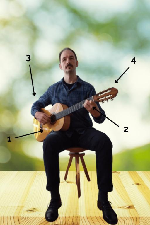 Gitarrenhaltung - Sitzhaltung